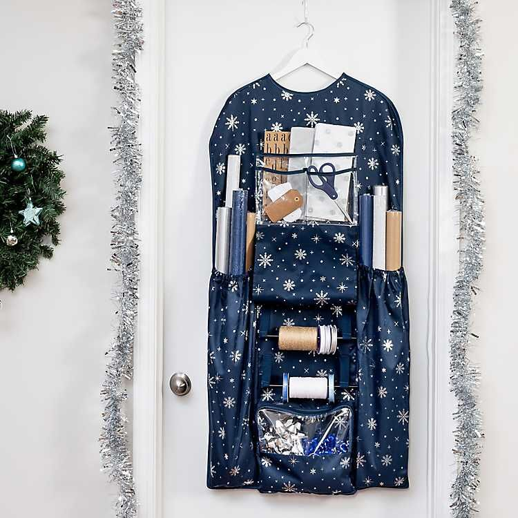 Blue over the door wrapping paper organizer from kirkland
