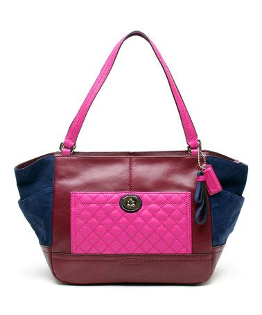 Look what I found on #zulily! Navy & Burgundy Park Carrie Leather Tote by Coach #zulilyfinds