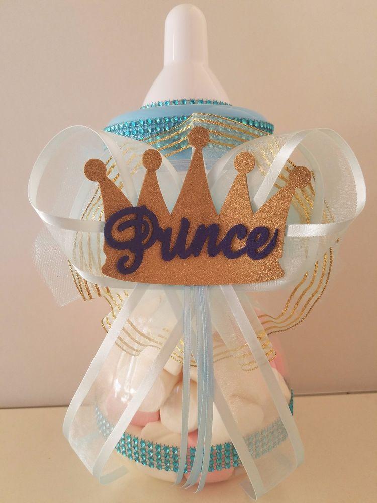 "Large Baby Bottle Decoration Baby Shower Prince Centerpiece Bottle Large 12"" Piggy Bank Boy"