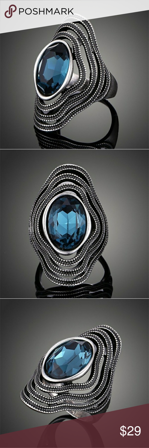 Teal Stone Statement Ring deep teal colored