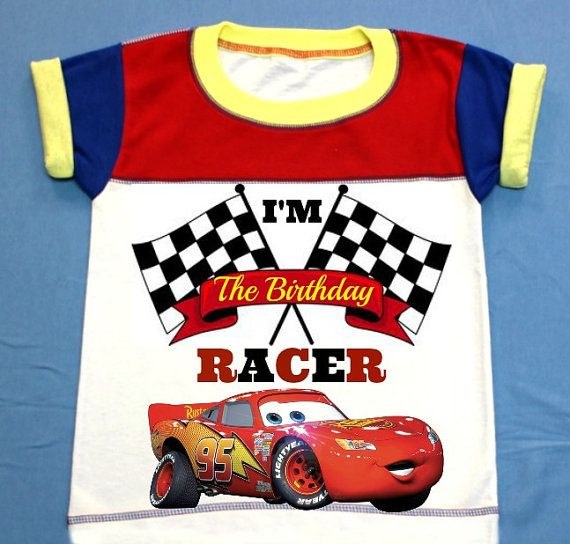 Lightning McQueen Red and Blue Boy T-shirt Personalized 12M,18M, 2nd 3rd 4th 5th 6th Personalization is included at no additional cost.