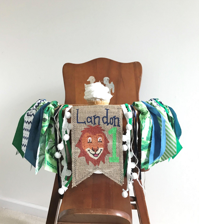 Lion First Birthday High Chair Banner Jungle Safari Cake Smash
