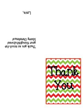 This Is A Cute HolidayThemed Thank You Note For Teachers To Send