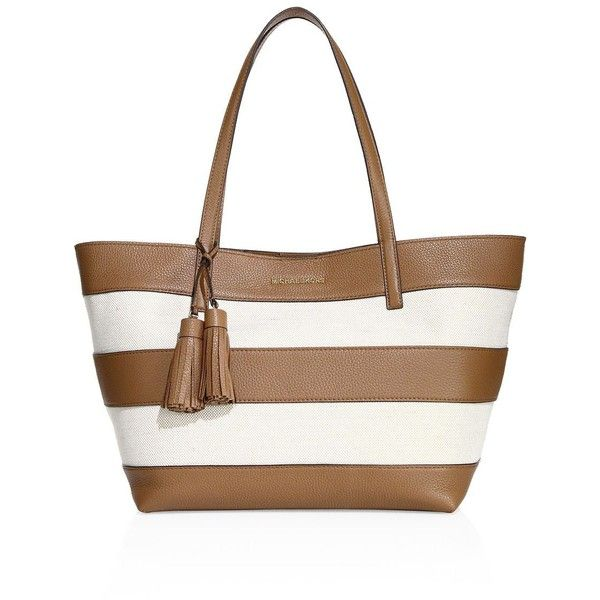 8b0d6c355e7c MICHAEL MICHAEL KORS Striped Coated Canvas Large East West Tote ( 298) ❤  liked on