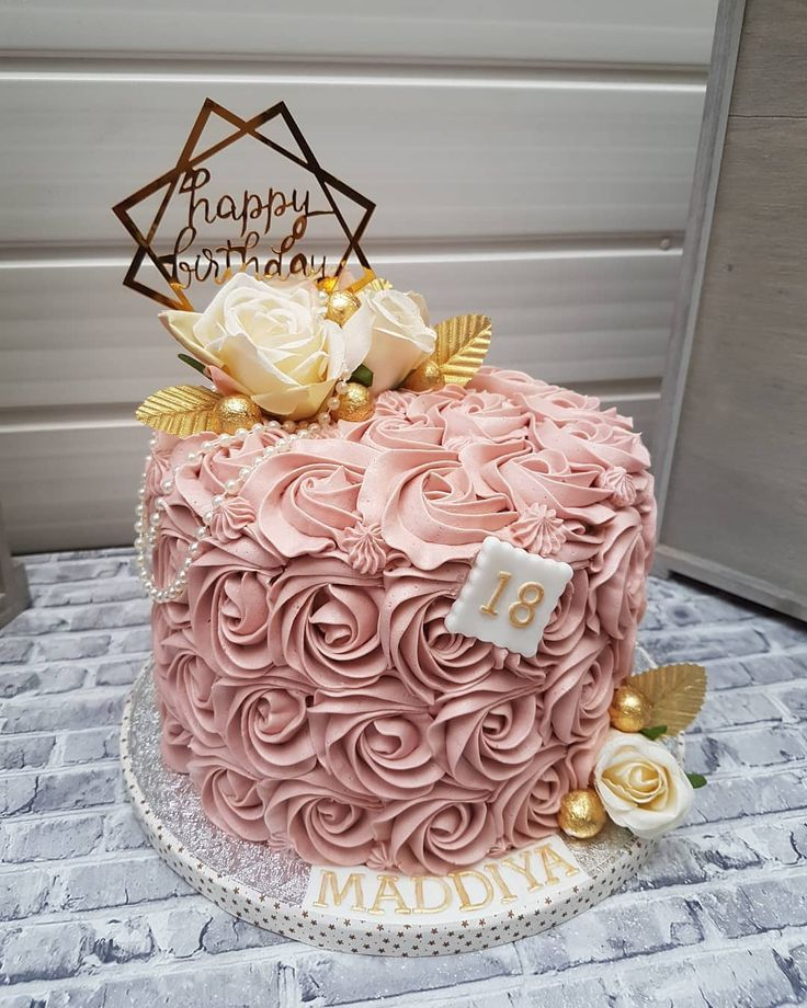 Happy 18th Birthday Maddiya 7inch Vanilla And Raspberry Cake Decorated In A Pastel De Cumpleanos Chico Ideas De Pastel De Cumpleanos Torta Para Fiesta
