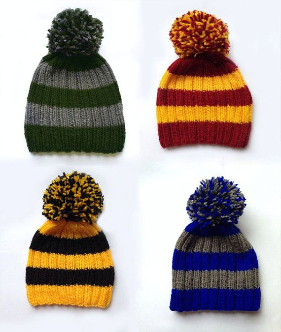 Harry Potter hand-knitted hat These hats represent Hogwarts house: _ Gryffindor: red and yellow _ Ravenclaw: blue and grey _ SLytherin: green and