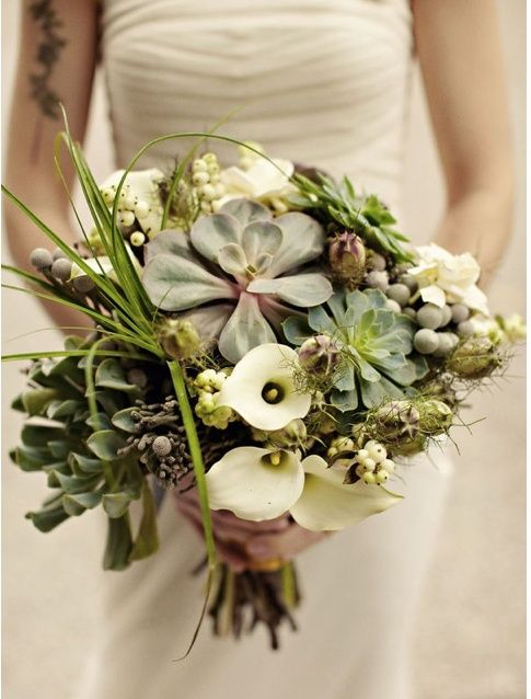 Blue Skies and Bunting: Wedding Trends - Succulent Bouquets