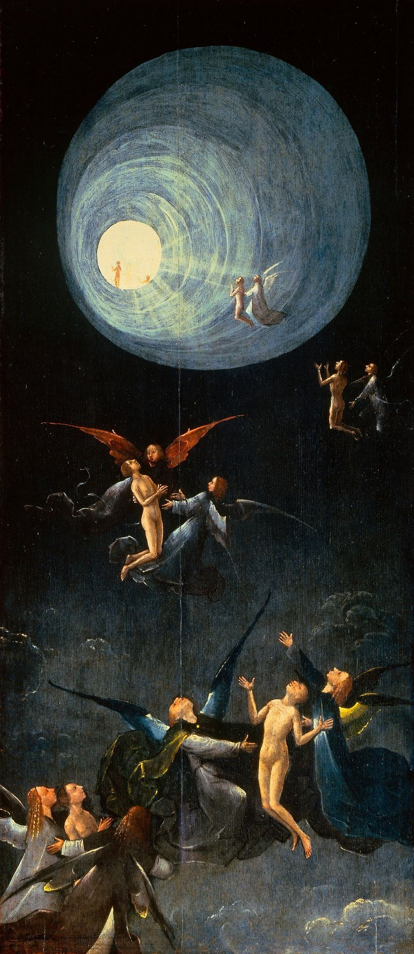 Hieronymus Bosch, Ascent of the Blessed. Oil on panel completed sometime between 1490 and 1516