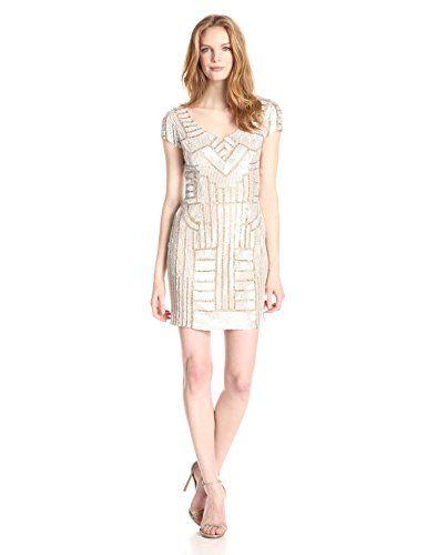 Adrianna Papell Women's Cap Sleeve V-Neck Beaded Dress, Champagne, 12 Adrianna Papell http://www.amazon.com/dp/B00QP6EPRW/ref=cm_sw_r_pi_dp_-Drbvb18VNK42