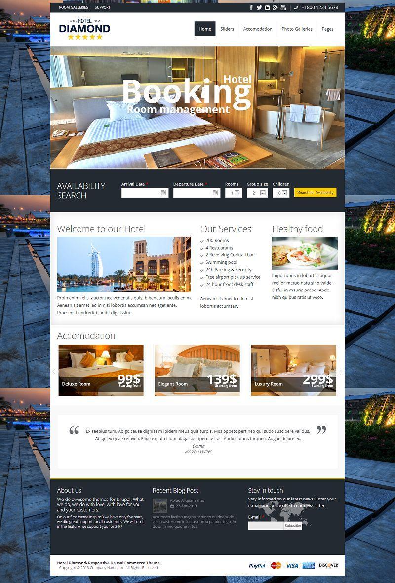 Hotel Diamond Responsive Drupal Hotel Room Booking Theme Hotel Website Design Hotel Hotel Website