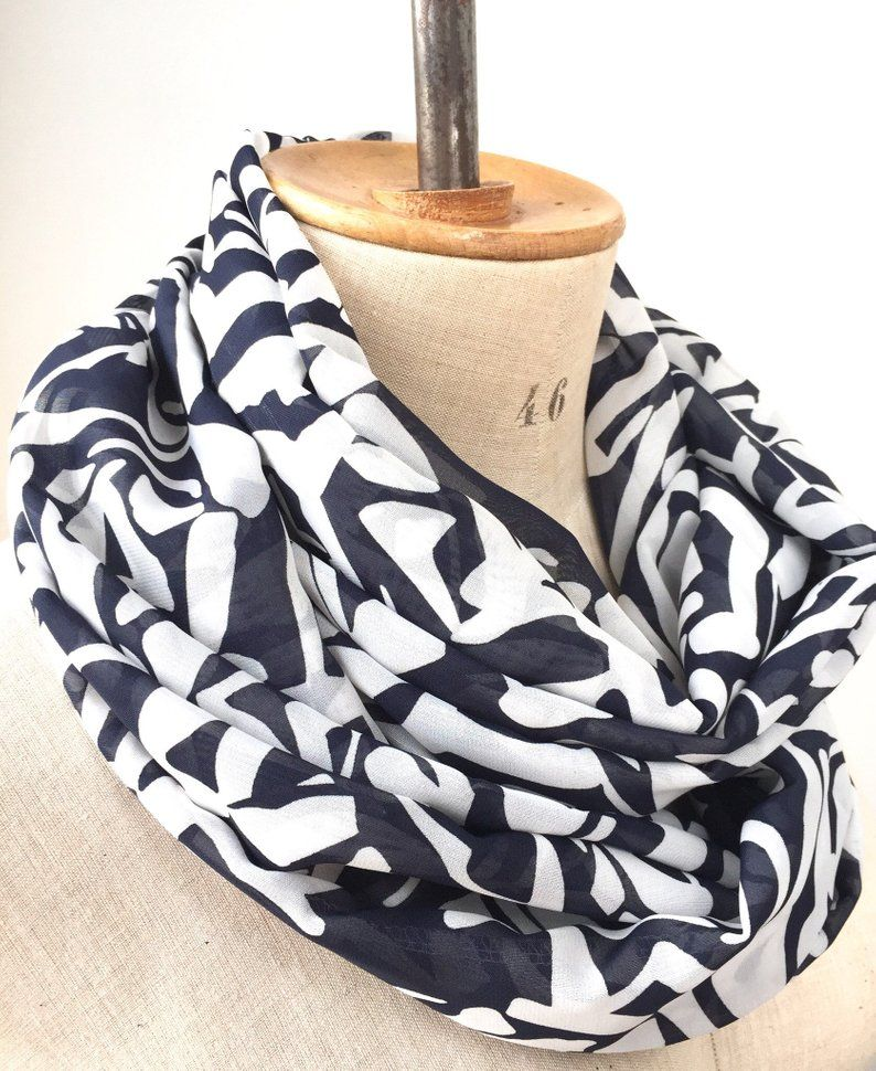 c52f62457d31f Blue white infinity scarf, lightweight cowl, women summer scarves ...