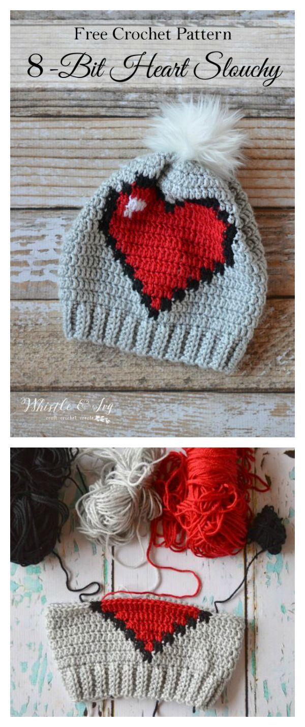 Adorable Crochet Heart Hat Free Patterns | Mütze, Häkeln und Stricken