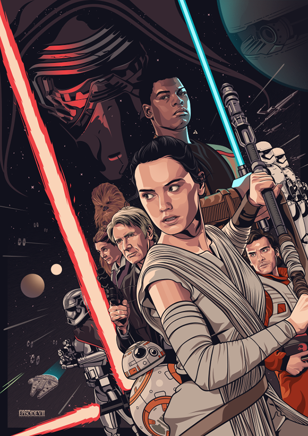 Fan Poster Of Star Wars Episode Vii The Force Awakens Star Wars Art Star Wars Poster Star Wars Vii