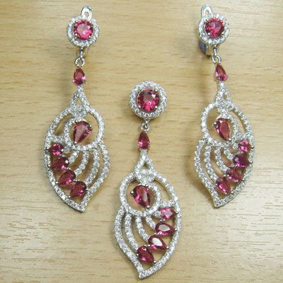 Micro Setting Round Pear Cut Pink Ruby and White CZ 925 Sterling Silver Jewelry Set