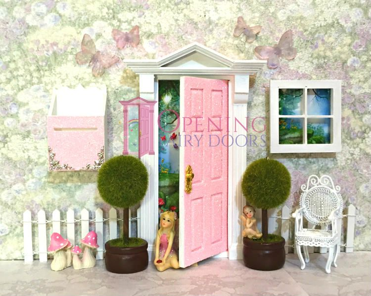 Peaches Cream Glitter Opening Fairy Door Set With Accessories Australian Made Opening Fairy Doors Fairy Doors Fairy Door Accessories