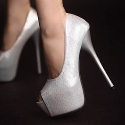 D79570 Kvoll Spring Gold Dust PU Leather Peep-toe High-heeled Pump Silver