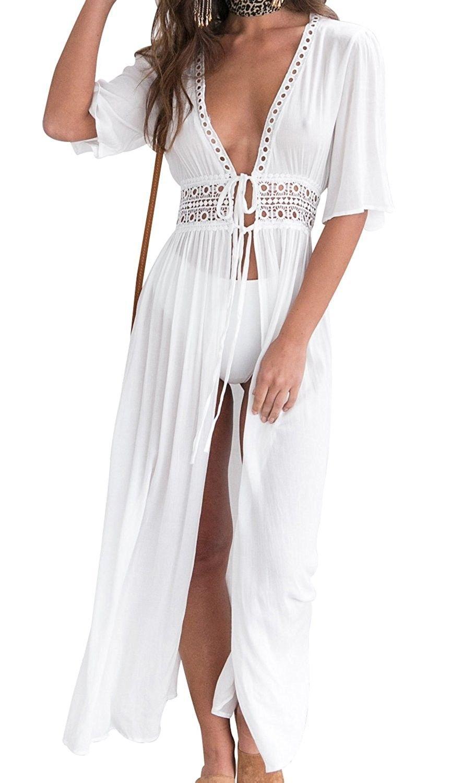 Women Beach Cover Up Bikini Swimsuit Dress Swimwear Cover Up Beach Wear B Off White Cv18cmuo46k Swimsuit Dress Beach Coverup Dress Beachwear For Women [ 1500 x 864 Pixel ]