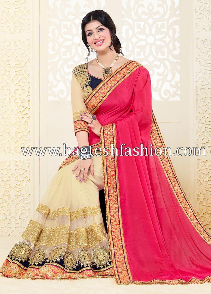 Amazing Cream And Reddish Pink Half N Half Saree