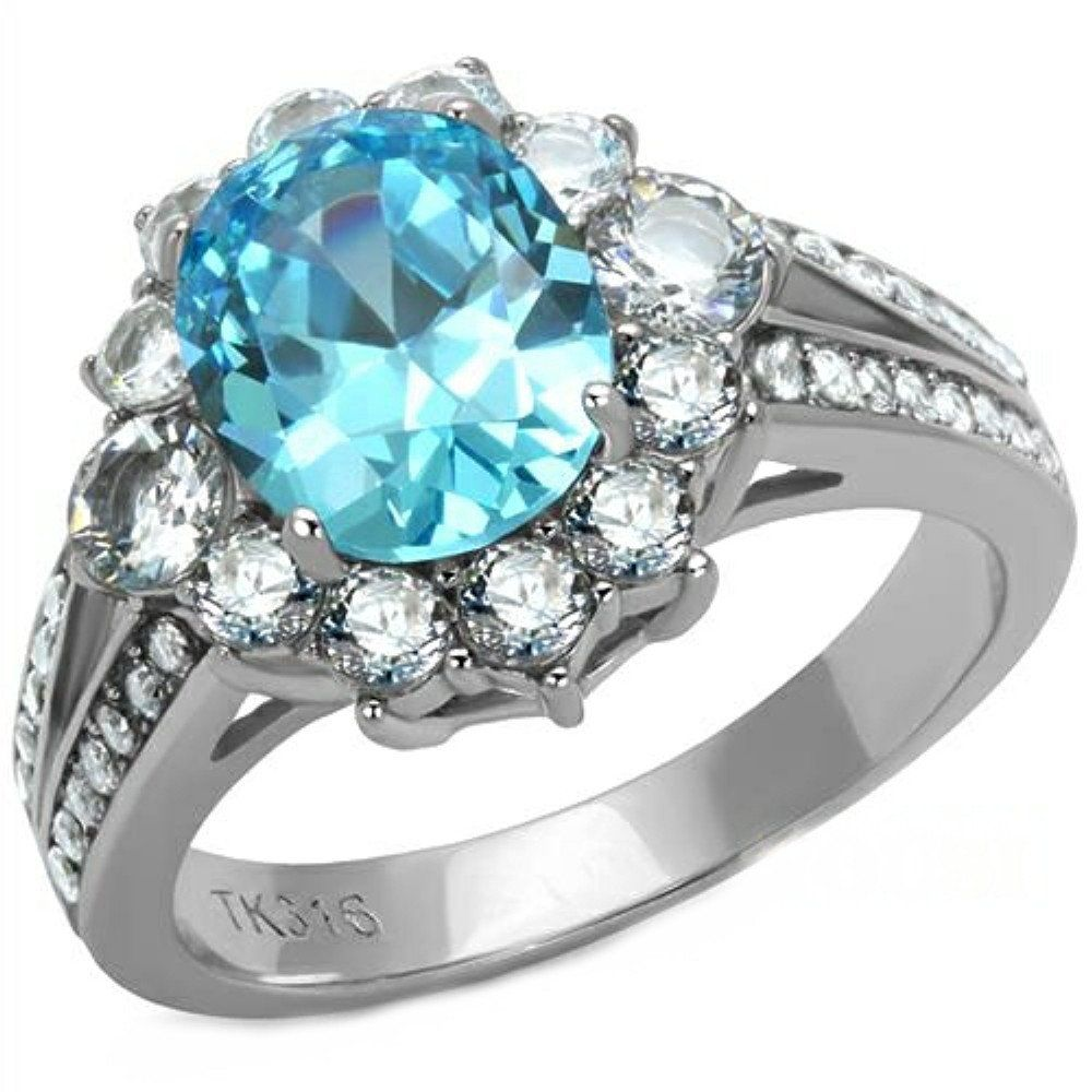 Stainless Steel CZ Halo Ring   Blue engagement ring, Blue ...