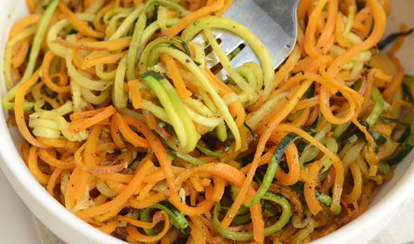 Use your new spiralizer with these tasty recipes! Skip carb-filled noodles and make zoodles with your spiralizer, then toss them into our easy and quick recipes including sweet potato, butternut squash, avocado and all your other high-protein favorite foods.