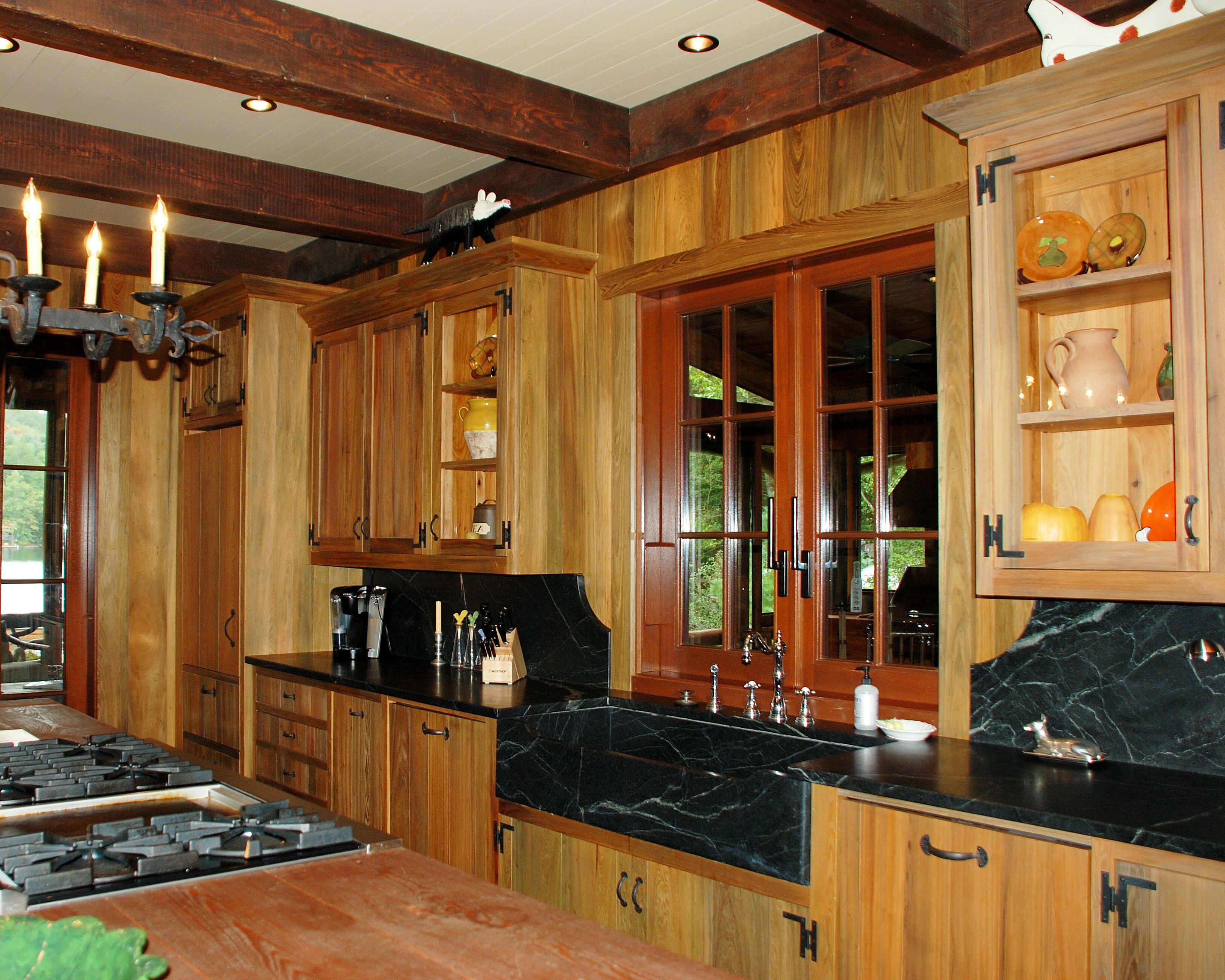 River Recovered Cypress Upper Lower Cabinets Including Cypress Wall Panels In Green Blue Brown Shades With Heart P Vintage House Low Cabinet Kitchen Cabinets