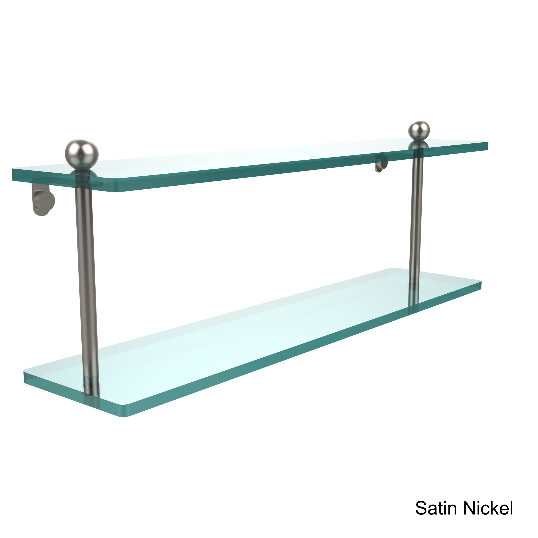 Allied Brass Clear Glass 22-inch 2-tier Shelf (Antique Brass ...
