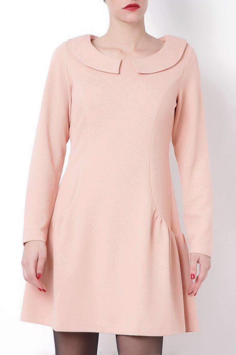 Vestido manga larga con cuello bebé rosa pastel de Kling | EAT ...