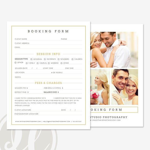 Client Booking Form  Photography Booking Form Template Instant