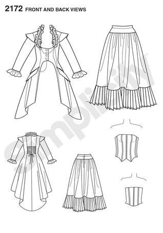 Simplicity Pattern 2172-Steampunk Coat, Corset and Skirt Plus Size ...