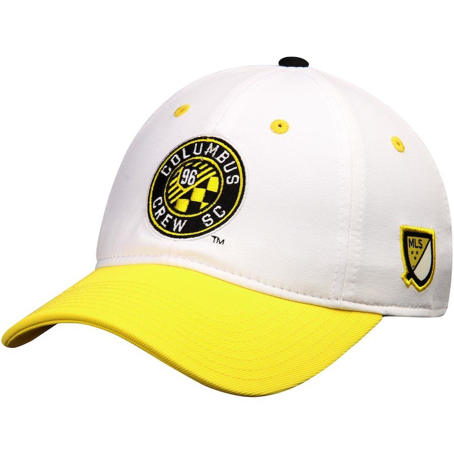 brand new 0e150 39778 Men s Columbus Crew SC adidas White Yellow Authentic Team Slouch Adjustable  Hat, Your Price