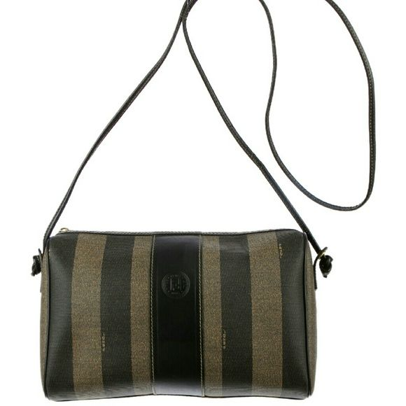 9072eef5ec Fendi Pequin Crossbody Authentic Fendi crossbody purse. Taupe and black  coated canvas with Fendi logo