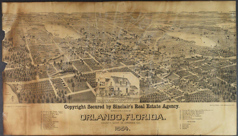 Bird/'s Eye View 1884 De Land Florida Vintage Style City Map 24x36