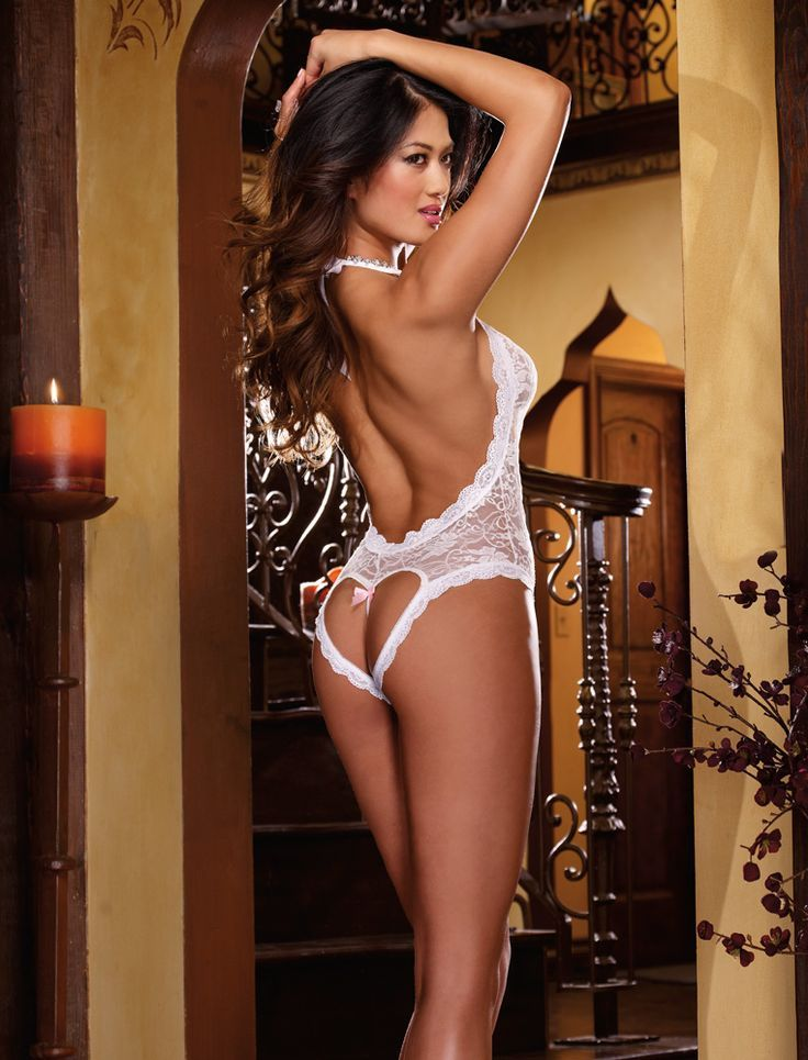 f41195183 Bridal   Honeymoon Lingerie - Beautiful White Lace Halter Neck Teddy with  Cut out Heart Bottom