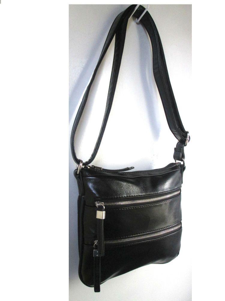 Beautiful Baci Italy Vegan Faux Black Leather Zipper Crossbody Handbag Organizer Authenticbaciitalyluxurydesignerbag
