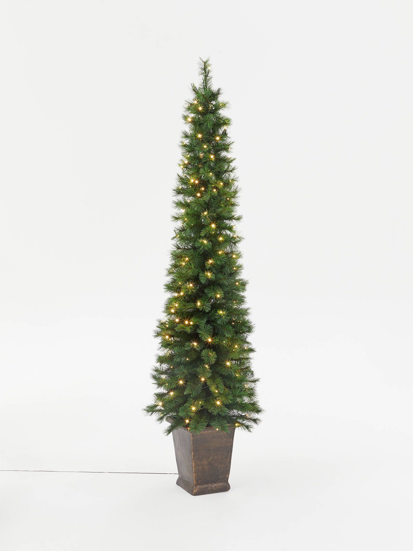 John Lewis & Partners Pencil Pine Potted Prelit Christmas