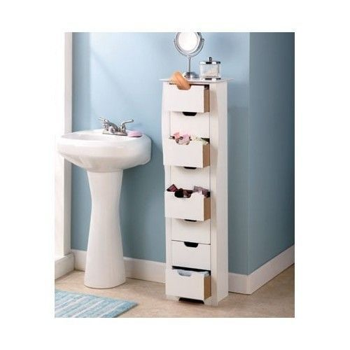 White Bathroom Furniture Storage Cupboard Cabinet Shelves: Bathroom Storage Cabinet Slim White 8 Drawer Tall