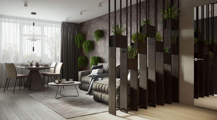 Pflanzen Wohnzimmer ~ Weiss grau beige wohnzimmer raumteiler pflanzen hängend #dream