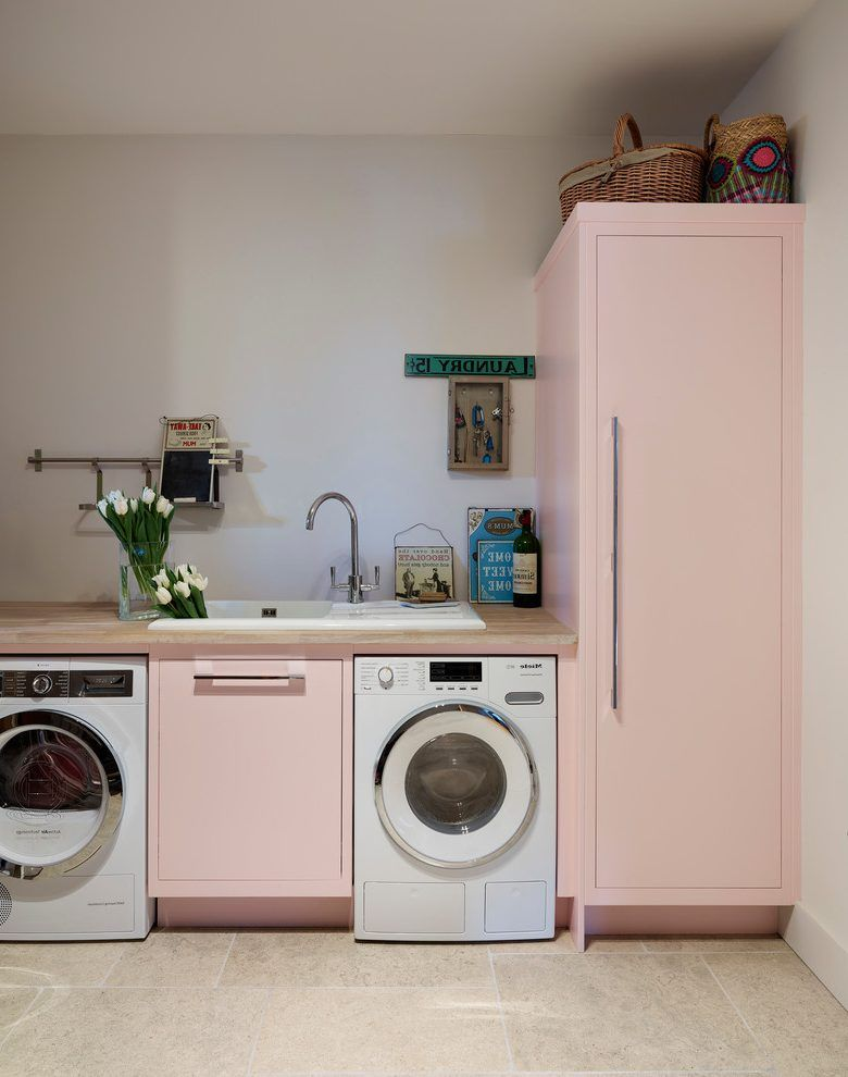 Pastel Pink Laundry Room Transitional With Wash Contemporary Washing Machines Pink Laundry Rooms Pink Kitchen Pink Furniture
