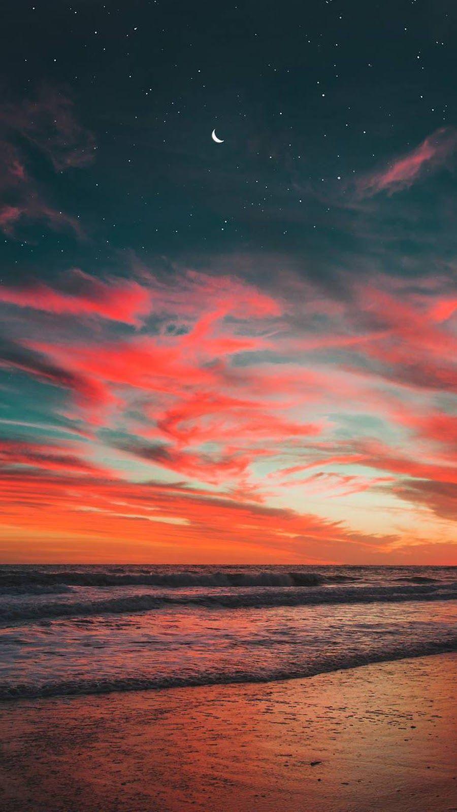 night beach wallpaper Sunset wallpaper, Beach wallpaper