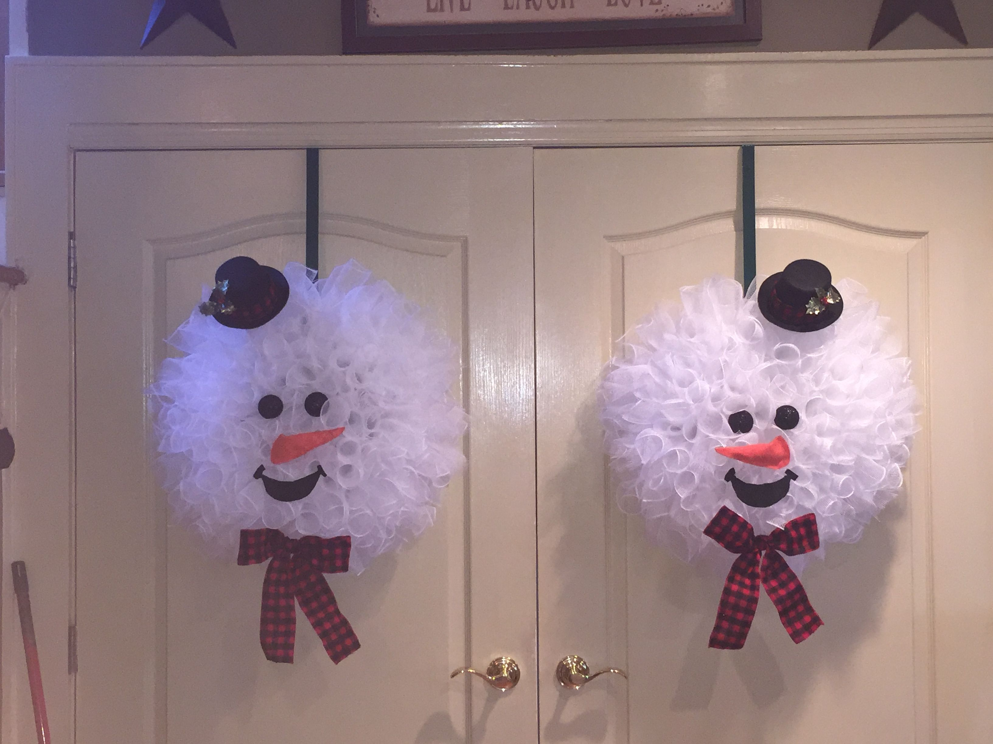 Deco Mesh Snowman Face Wreaths For French Doors With Images