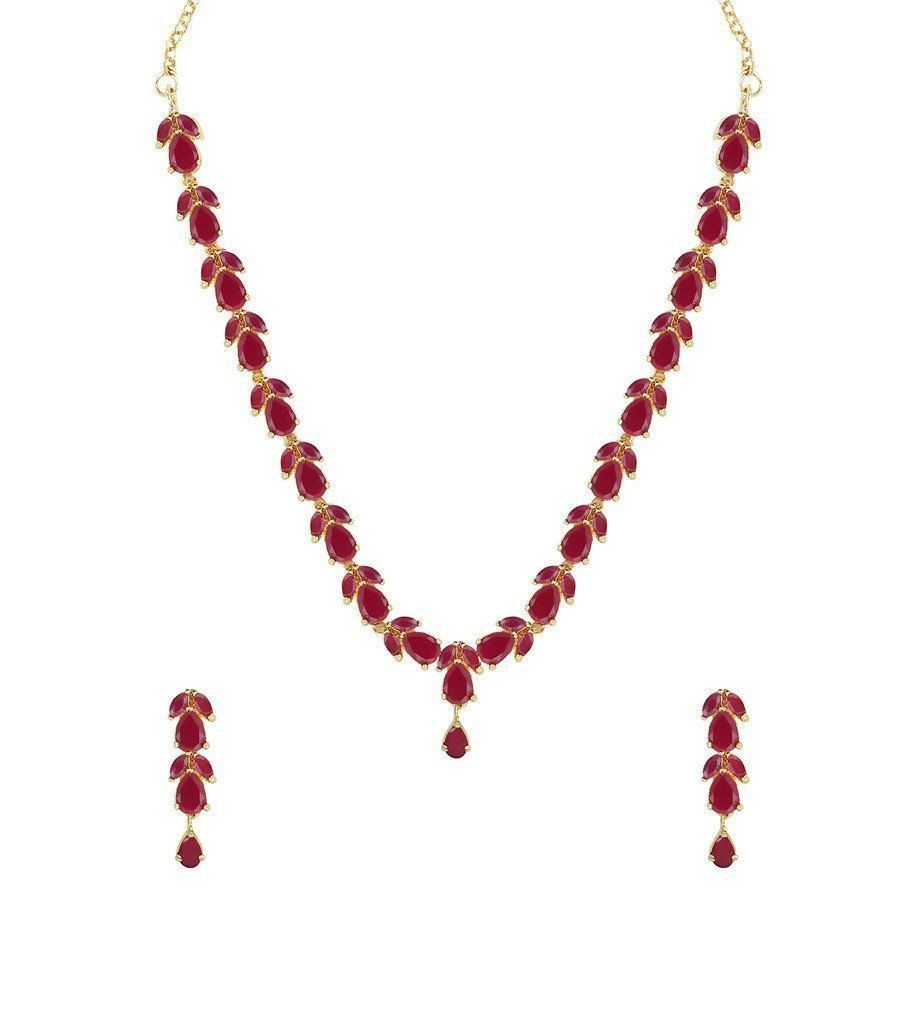 Delicate Ruby Necklace Set Zpfk Zaveri Pearls Jewellery in