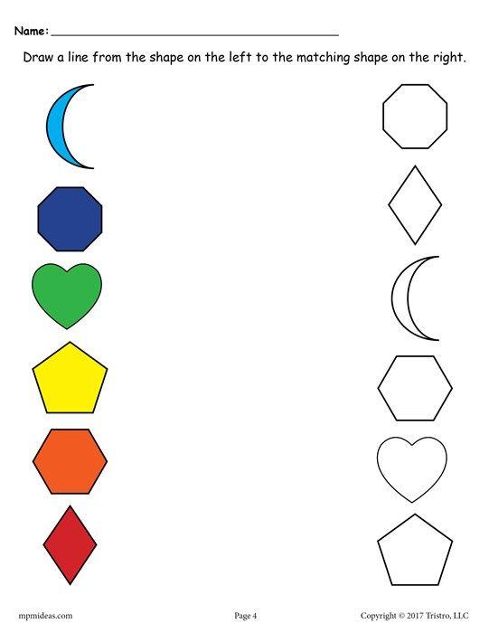 6 Shapes Matching Worksheets Shape Worksheets For Preschool Shapes Worksheets Color Worksheets For Preschool Worksheet shapes for nursery