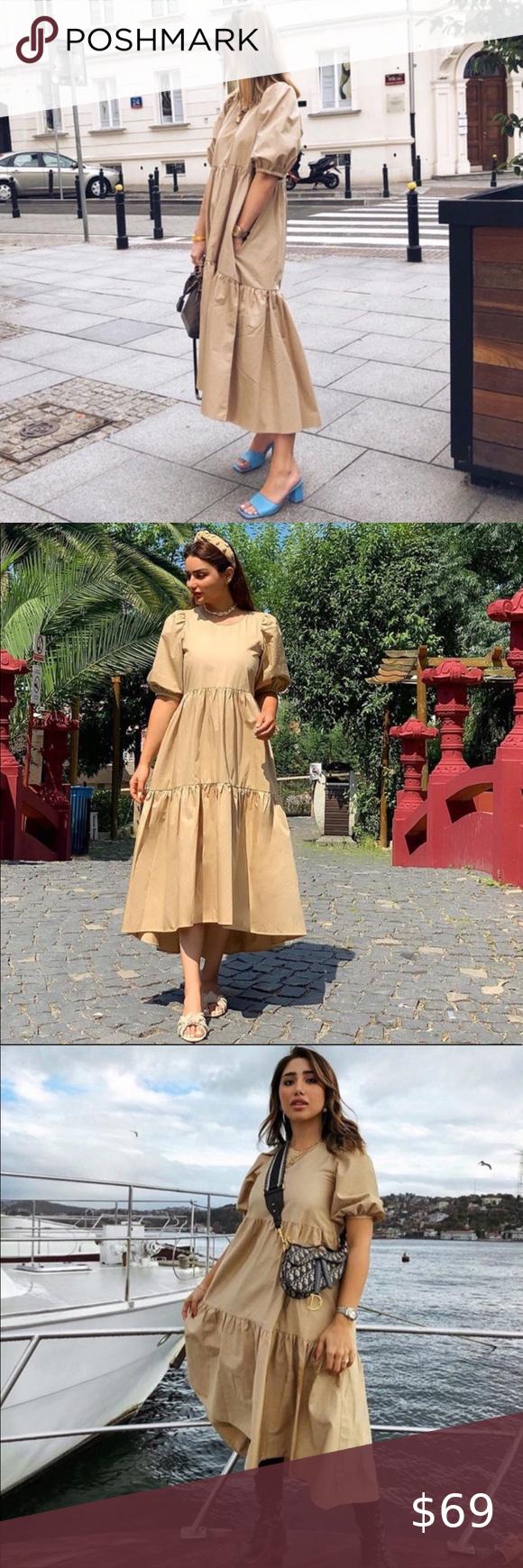 Zara puff sleeve poplin dress   Poplin dress, Dresses, Zara dresses