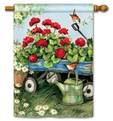 Geraniums By The Dozen House Garden Flags Matmates Mailwraps And Yard Designs At Flag Fables Home Flag Decor Garden Flags