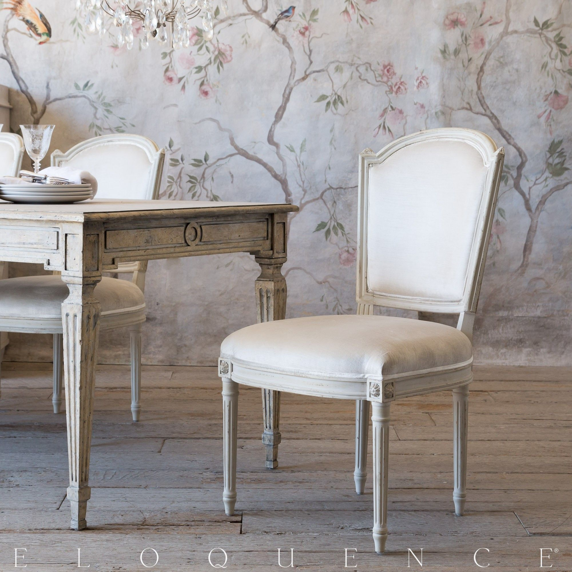 Eloquence® Flins Dining Chair in Dove Velvet and Antique ...