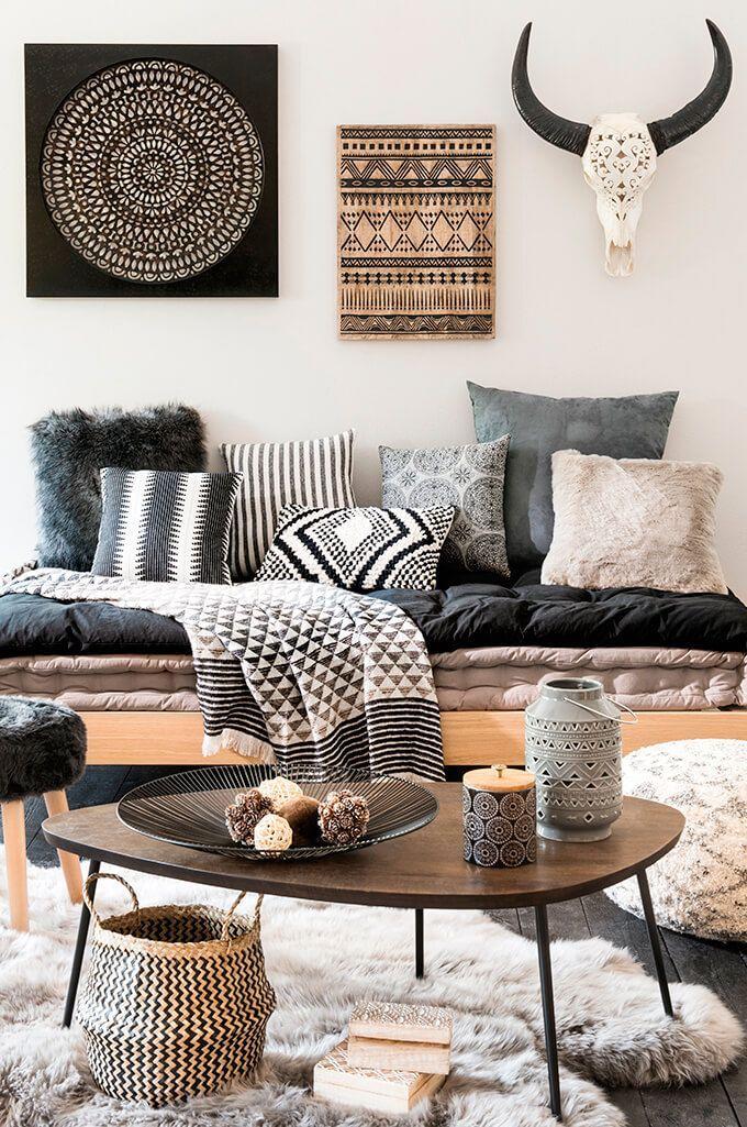 Incredible Modern Black And White Living Room Ideas Fres Hoom Deko Trend Graphik Tribu Ethno Ambiente