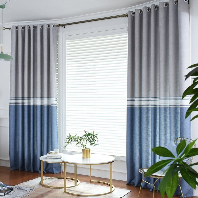 Modern Urban Office Blue And Gray Color Blocking Simply Blackout Curtain Color Block Drapes Curtains Blackout Curtains