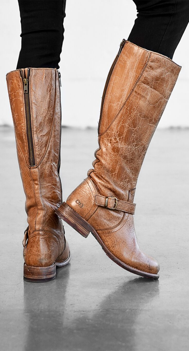 GLAYE - Distressed Leather Womens Riding Boot BED