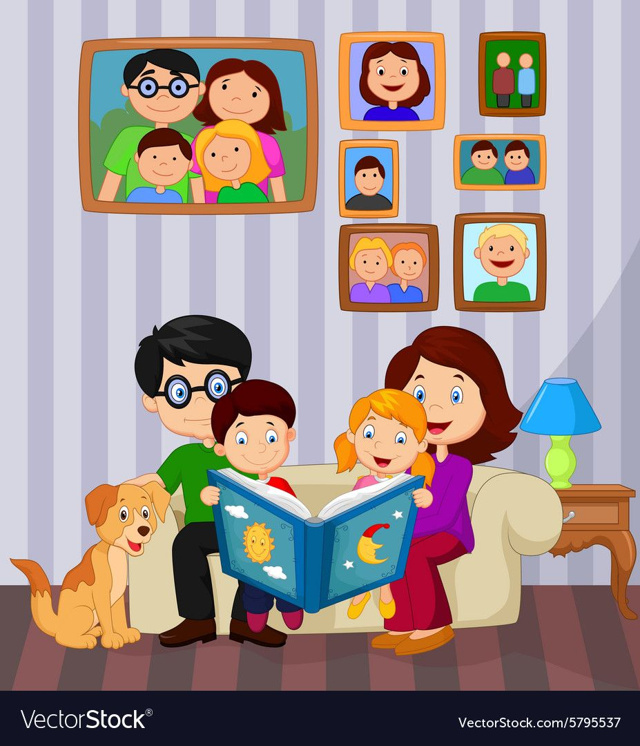 Cartoon Read A Story Book In The Living Room Vector Image On