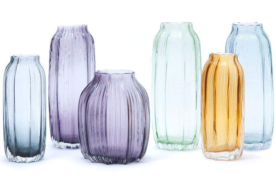 Padma Lakshmi Designs a Worldly New Tabletop Collection | Handmade Pleated glass vases, $35–$50 apiece